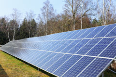Detail of Solar Power Station on winter Meadow Stock Photography