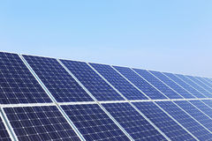 Detail of Solar Power Station on winter Meadow Royalty Free Stock Images