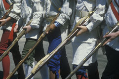 Detail of soldiers with muskets during American Revolutionary War Historical reenactment, Williamsburg, Virginia Royalty Free Stock Photo