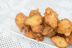 Detail of some cod fritters. Detail of a homemade cod fritters Royalty Free Stock Photos