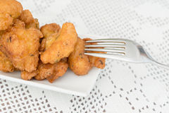 Detail of some cod fritters. Detail of a homemade cod fritters Stock Photography