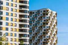 Detail of some high-rise residential buildings. Seen in Munich, Germany Royalty Free Stock Image