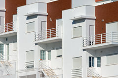 Detail of some holiday flats. A detail of some new white holiday flats Stock Photo