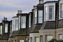 Houses detail. Detail of some houses early in the morning at Portobello beach nearby Edinburgh royalty free stock image