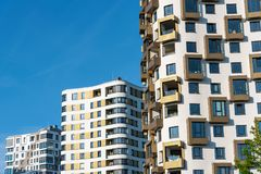 Detail of some multi-storey apartment buildings. Seen in Munich, Germany royalty free stock photos