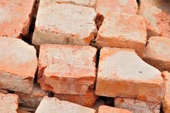 Detail of some old used bricks. In stack Stock Photo