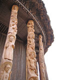 Detail of some pillars. Detail of some ceramics drawing and sculpture on the pillars of a chief house - Cameroon - Africa Stock Image