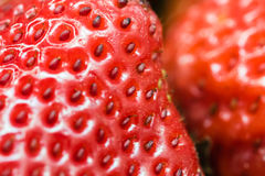 Detail of some sliced strawberries. Close-up shot, vibrant colors stock image