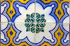 Detail of some typical portuguese tiles. At Lisbon, Portugal Royalty Free Stock Photo