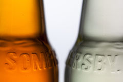 Detail of Somersby cider. Illustrative Editorial. Prague, Czech Republic  - June 3, 2017: Detail of Somersby cider. It is a brand of 4.5% abv cider produced by Stock Photo