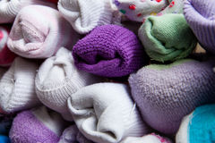 Detail of Sorted Socks. Pile of paired socks to put away Stock Photos