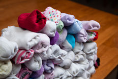 Detail of Sorted Socks. Pile of paired socks to put away Stock Images