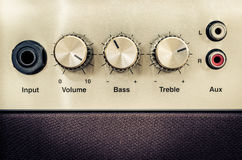 Detail of sound volume controls in vintage style. Close-up detail of sound volume controls in vintage style royalty free stock images