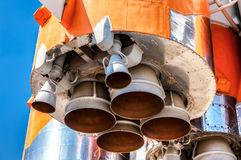 Detail of space rocket engine against the sky Stock Photo