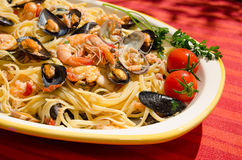 detail of spaghetti with seafood Stock Photo