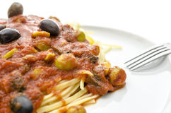 Detail of spaghetti with tomato sauce Royalty Free Stock Images