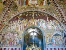 Spanish Chapel in Santa Maria Novella, Florence. Frescoes by Bonaiuto in the famous Spanish Chapel of the Basilica of Santa Maria Novella in Florence, Italy royalty free stock image