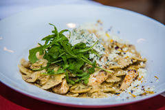 Detail on special designe for food on plate.Pasta.  Royalty Free Stock Photography