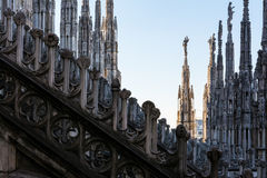 Detail Spires of Duomo Cathedral in Milan, Italy Gothic Architec Stock Images