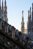 Detail Spires of Duomo Cathedral in Milan, Italy Gothic Architec Royalty Free Stock Photo
