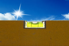 Detail of spirit level with blue sky Stock Images