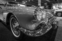 Detail of a sports car Chevrolet Corvette (C1), 1960. MAASTRICHT, NETHERLANDS - JANUARY 14, 2016: Detail of a sports car Chevrolet Corvette (C1), 1960. Black and Royalty Free Stock Images