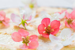 Detail on Spring Flowers on Fruit Pie. Detail on White and Pink Spring Flowers on a Fruit Pie stock images