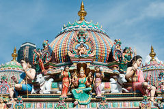 Detail of the Sri Mariamman temple in Singapore royalty free stock photos