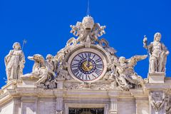 Detail of St. Peter`s Basilica in Vatican stock images