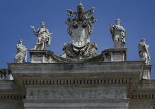 Detail of St Peter's Square Saints, Rome Italy Stock Photos