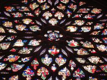 Stained glass windows in church. Detail of stained glass in Sainte-Chappelle church in Paris Royalty Free Stock Photos