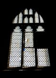 Detail of a stained glass window in Crowland Abbey, Crowland, Li stock photography