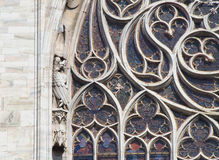 Detail of a Stained Glass Window at Notre Dame in Paris Stock Photography