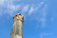 Detail of standing damaged Corinthian order column Stock Image