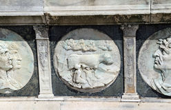 Detail of the statue of the facade of famous Monastery Certosa d Stock Photo