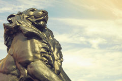 Detail of statue of a king lion, which belongs to Christopher Columbus monument in Barcelona, Spain Stock Images