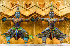Detail of statues in Grand palace temple, Bangkok Royalty Free Stock Photo