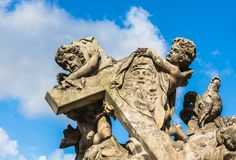 Detail from the statues of Madonna and Saint Bernard on Charles Stock Photo