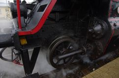 Detail of the steam locomotive royalty free stock image