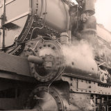 Detail of a steam locomotive stock photos
