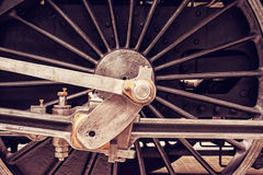 Detail of steam locomotive wheel, old filter Royalty Free Stock Images