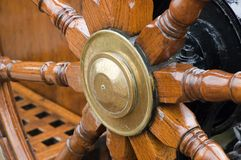 Detail of steering wheel. On a large sailing vessel Royalty Free Stock Photos