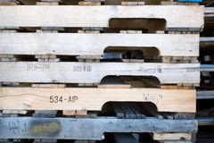Detail of stock wood pallet under sun light Stock Images