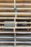 Detail of stock wood pallet under sun light Royalty Free Stock Image