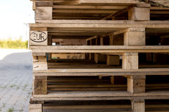 Detail of stock wood pallet under sun light Royalty Free Stock Photography