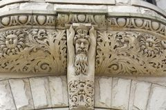 Intricate designs carved in stone stock photos