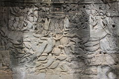 Detail of stone carvings in angkor wat, Cambodia. Stock Photos