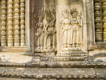The detail of stone carvings in Angkor Wat, Cambodia. Royalty Free Stock Photos