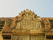 The detail of stone carvings in Angkor Wat, Cambodia. Royalty Free Stock Photography