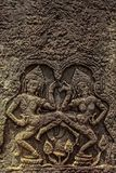 Detail of stone carvings in angkor wat,cambodia. Royalty Free Stock Photo